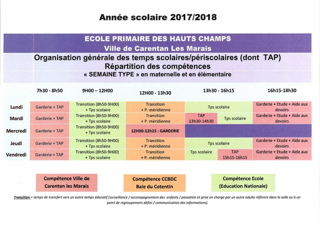 rythme scolaire 2018 maternelle
