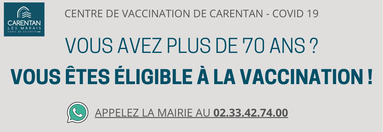 Vous avez plus de 70 ans _ Vous êtes éligible à la vaccination !
